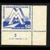 DDR: 1951, Leipziger Frühjahrsmesse 50 Pfg. (Eckrandstück mit Druckvermerk)