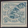 Braunschweig: 1852, Wappen 2 Sgr. blau vollrandiges sauber gestempeltes Stück