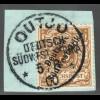 DSW: 1898, Krone/Adler 3 Pfg. hellockerbraun Briefstück, farbgepr. Steuer BPP)