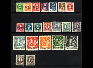 1920, Bayern-Abschiedsausgabe komplett (dabei 2½ Mk. in beiden Typen)