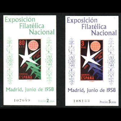 Spanien: 1958, Blockpaar Briefmarkenausstellung