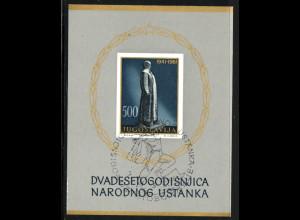Jugoslawien: 1961, Blockausgabe Nationaler Aufstand (Esst, M€ 110,-)