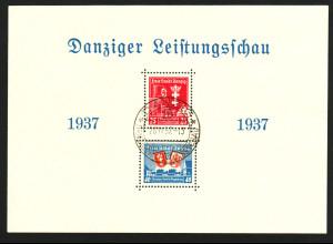 Danzig: 1937, Blockausgabe Leistungsschau (seltener Ersttagssonderstempel !!)