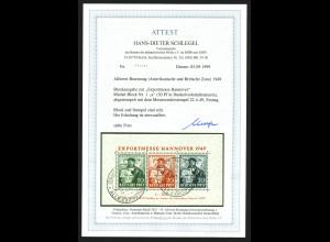 """Bizone: 1949, Blockausgabe Exportmesse mit Esst. """"Hannover"""" (Fotoattest BPP)"""