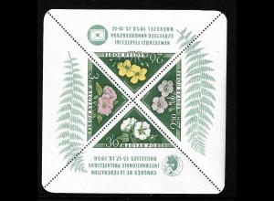 Ungarn: 1958, Blockausgabe FIP-Kongress (Dreiecksmarken Blumen)