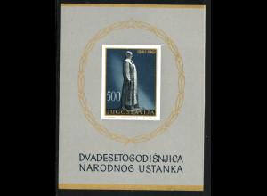 Jugoslawien: 1961, Blockausgabe Nationaler Aufstand (M€ 150,-)