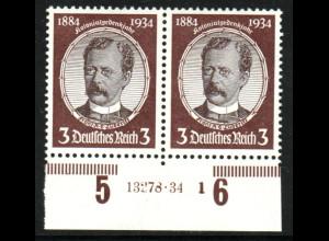 1934, Kolonialforscher 3 Pfg. Unterrandpaar mit HAN