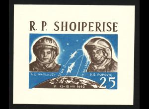 """Albanien: 1963, Weltraum Blockausgabe """"Wostok 3 und 4"""" (ungezähnt)"""