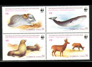 Chile: 1984, Bedrohte Tierarten (Viererblock, WWF-Ausgabe)