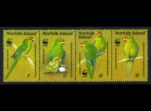 Norfolk-Inseln: 1987, Zusammendruckstreifen Sittich (WWF-Ausgabe)