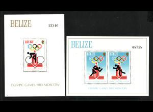 Belize: 1979, Blockpaar Sommerolympiade Moskau