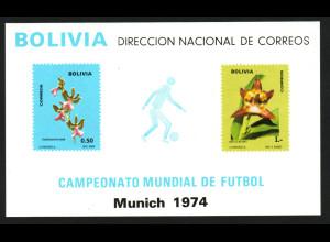 Bolivien: 1974, Blockausgabe Fußballweltmeisterschaft München