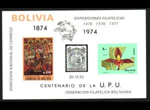 Bolivien: 1974, Blockausgabe UPU (Motiv Orchideen, Gemälde und Marke auf Marke, Einzelstück)