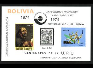 Bolivien: 1974, Blockausgabe UPU (Motiv Orchideen, Gemälde und Marke auf Marke)