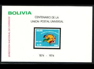 Bolivien: 1975, Blockausgabe 100 Jahre UPU