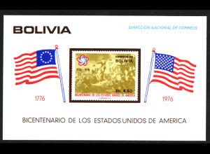 Bolivien: 1976, Blockausgabe zur 200-jährigen Unabhängigkeit der USA (Flaggen)