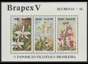 Brasilien: 1982, Blockausgabe Briefmarkenausstellung Brapex V (Orchideen)