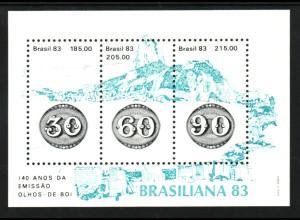 Brasilien: 1983, Blockausgabe Briefmarkenausstellung BRASILIANA 83 (Motiv Marke auf Marke)