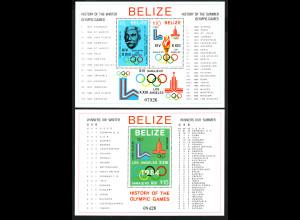 Belize: 1981, Blockpaar Geschichte der Olympischen Spiele (M€ 60,-)