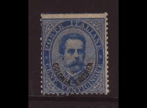 Italienisch-Eritrea: 1893, Aufdruckausgabe König Umberto 25 C. (M€ 800,-)