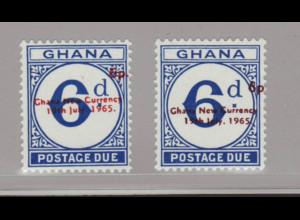 Ghana: 1965, Portomarken 6 auf 6 P. in beiden Aufdruckfarben