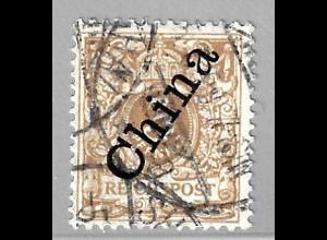 Deutsche Post in China: 1898, Steiler Aufdruck 3 Pfg., hellockerbraun