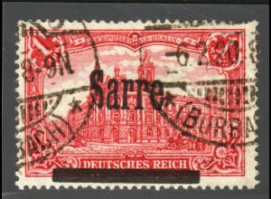 "Saargebiet: 1920, 1 Mk.; Aufdruckabart: ""abgeschliffenes S"", (typgepr. BPP)"