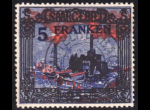 Saargebiet: 1921, Landschaftsbilder 5 Fr. auf 25 Mk.; Plattenfehler