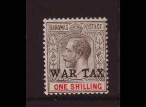 Bahamas: 1918, 1 Sh. Höchstwert der Kriegssteuerausgabe