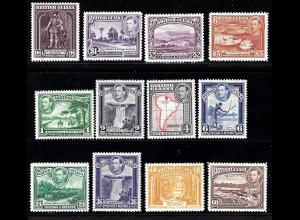 Guyana: 1938, Freimarken König Georg VI. (Ausgabe komplett, meistens postfrisch)