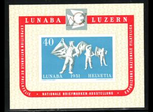 Schweiz: 1951, Blockausgabe LUNABA (M€ 260,-)