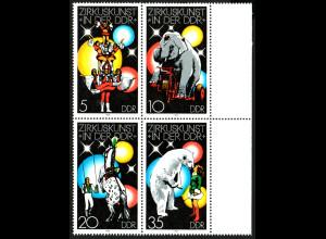 "1978, Zirkus 10 Pfg., Plattenfehler: ""Punkt am Kreuz"" (im Viererblock)"