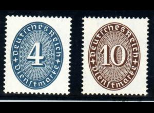 DR-Dienstmarken: 1933, Strohhutmuster 4 und 10 Pfg. Farbänderungen