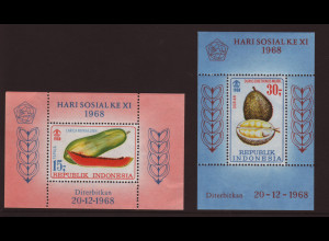 Indonesien: 1968, Blockpaar Früchte