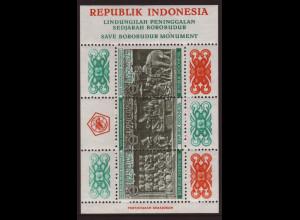 Indonesien: 1968, Blockausgabe Heiligtum Borobudur (leichte Gummibräunung)