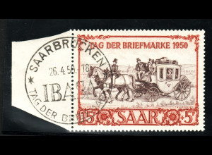 "Saarland: 1950, Postkutsche, SoSt. ""IBASA"""