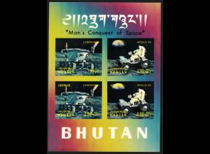 Bhutan: 1971, Blockausgabe Apollo 11 (3D-Folie)