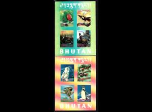 Bhutan: 1969, Blockpaar Vögel (3D-Folie; M€ 84,-)