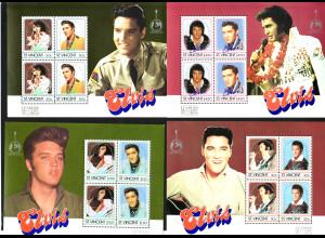 St. Vincent: 1987, Überdruck-Blockausgaben zum 10. Todestag von Elvis Presley (4 Blockausgaben)