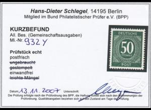 1946, Ziffern 50 Pfg. Wasserzeichenabart WZ 6 Y steigend (Kurzbefund BPP)