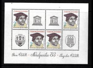 Tschechoslowakei: 1983, Blockausgabe NORDPOSTA (Martin Luther)