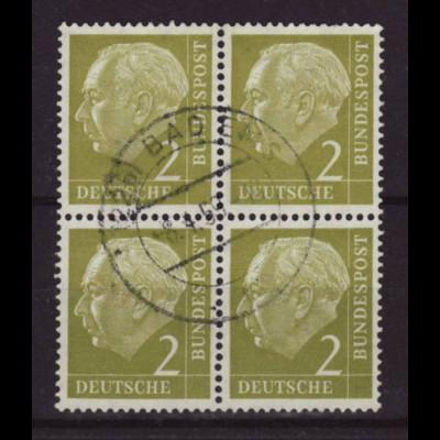 1954, Heuss I 2 Pfg. (zentr. gest. Viererblock)