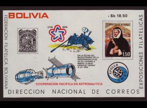 Bolivien: 1975, Überdruck-Blockausgabe Apollo/Sojus (Einzelstück)