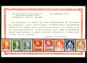 Schweiz: 1918, Dienstmarken Kriegswirtschaft, dünner Aufdruck POSTFRISCH