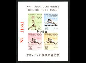 Haiti: 1965, Überdruckblockausgabe Sommerolympiade mit schwarzem Aufdruck (Auflage nur 2700 Blocks)