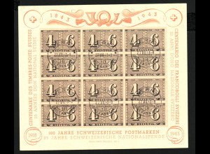 Schweiz: 1943, Große Blockausgabe 100 Jahre Briefmarken