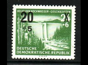 """DDR: 1954, Überdruck Hochwassergeschädigte; Plattenfehler: """"Punkt über HE """""""