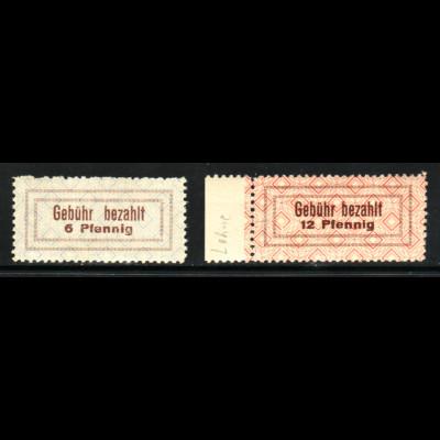 Lohne: Gebührenzettel 6 und 12 Pfg. (M€ 130,-)