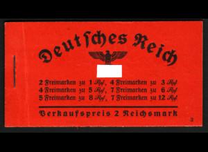 1936/37, Markenheftchen Hindenburg ONr. 3 (bessere Type)