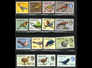 Mauritius: 1965, Freimarken Vögel (M€ 85,-)